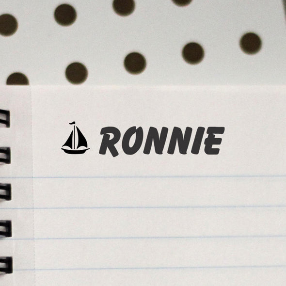 "Personalized Kids Name Stamp - ""Ronnie"" Ship"