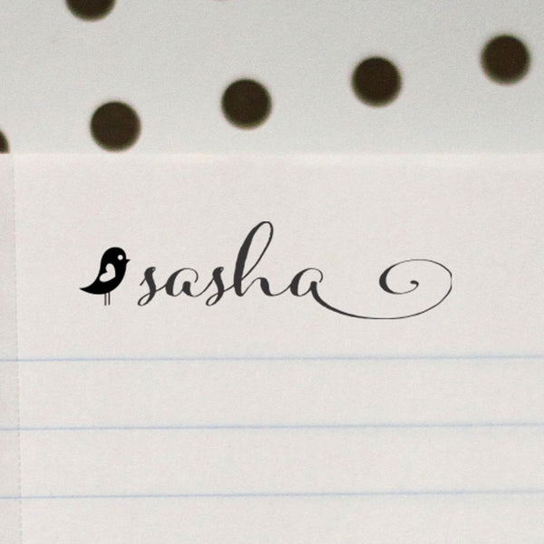 "Personalized Kids Name Stamp - ""Sasha"" Bird"