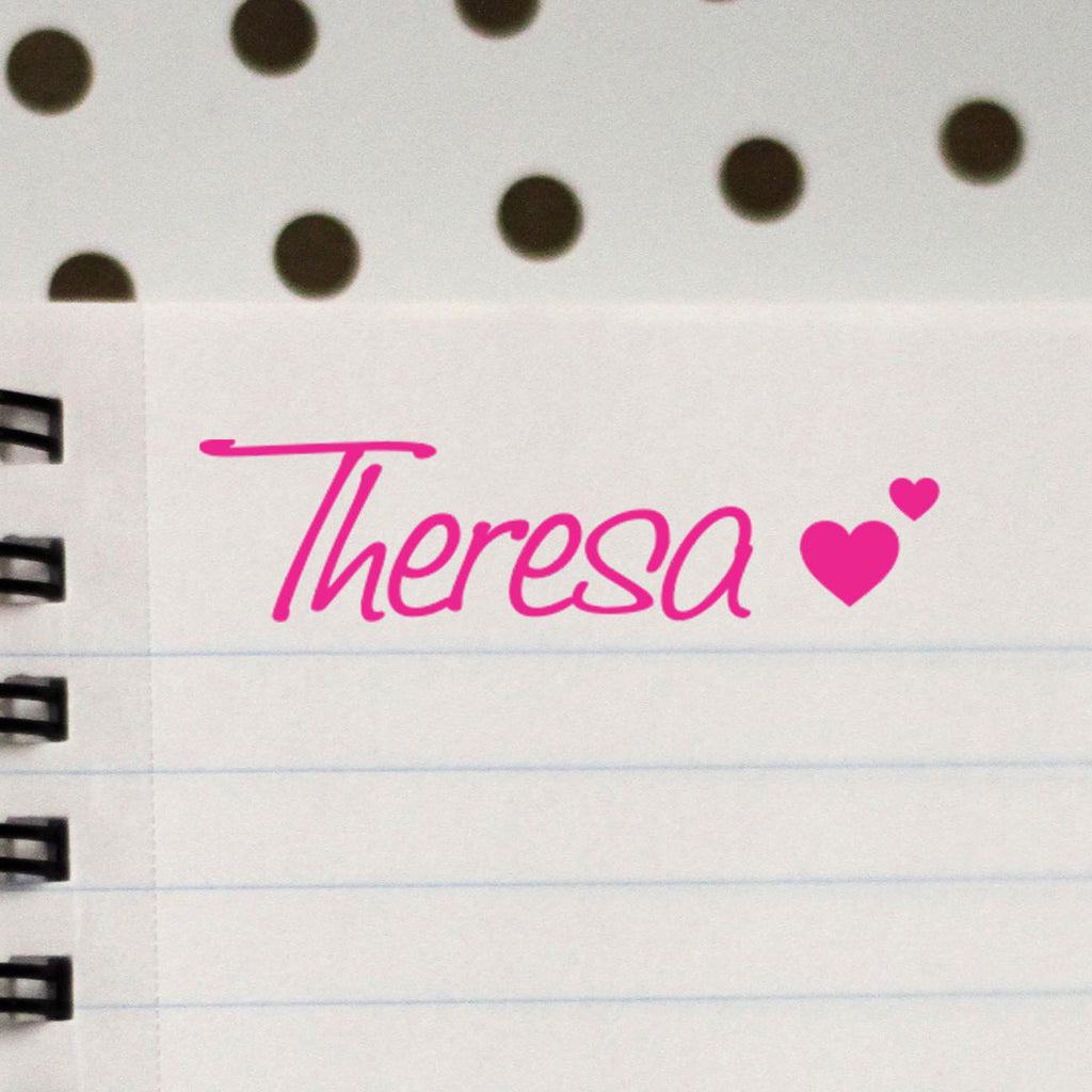 "Personalized Kids Name Stamp - ""Theresa"" Hearts"