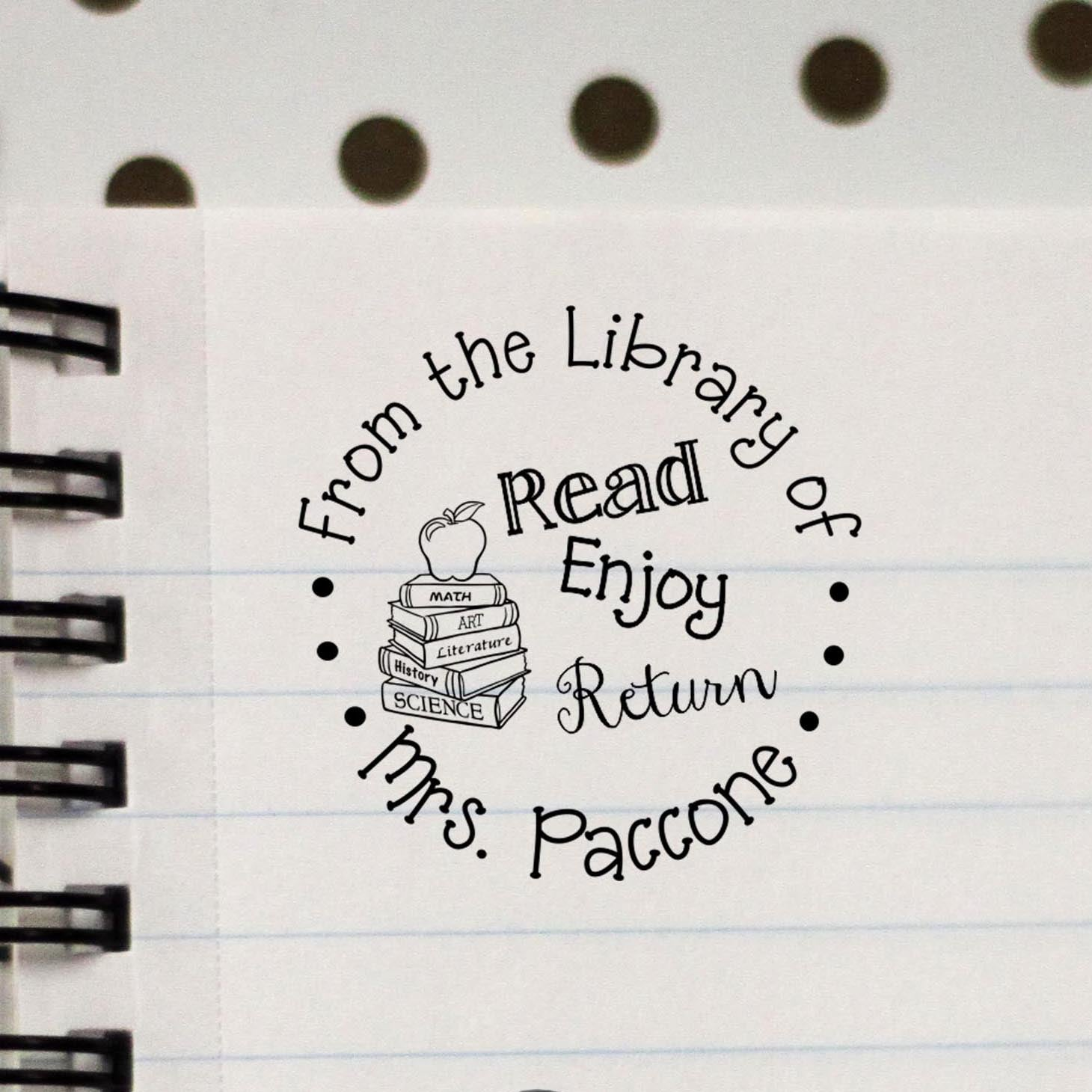personalized teacher stamp from the library of stamp out