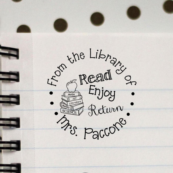 Personalized Teacher Stamp - From The Library Of