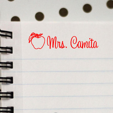 Personalized Teacher Stamp With Apple