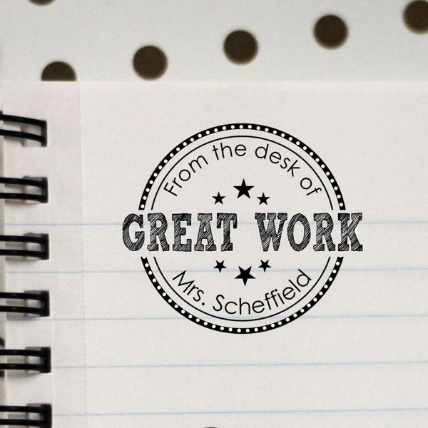 Great Work Personalized Teacher Stamp