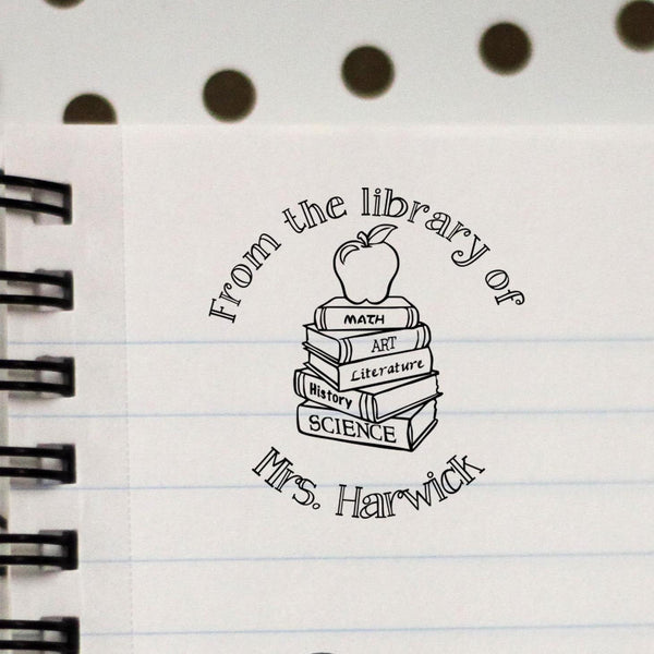From The Library Of Personalized Teacher Stamp