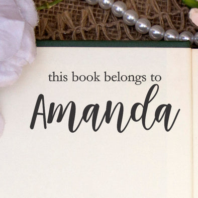 "This Book Belongs to Stamp, Custom Library Stamp, ""Amanda"""