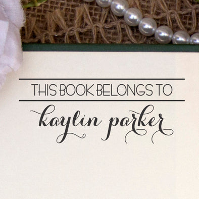 "This Book Belongs to Stamp, Custom Library Stamp, ""Kaylin Parker"""