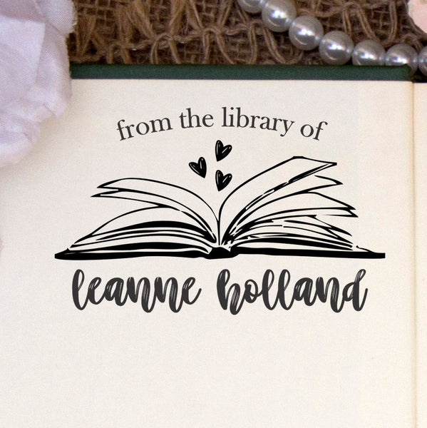 "This Book Belongs to Stamp, Custom Library Stamp, ""Leanne Holland"""