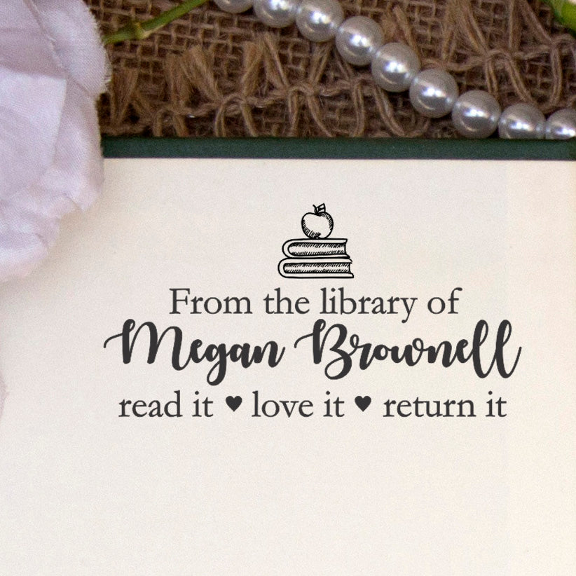 "This Book Belongs to Stamp, Custom Library Stamp, ""Megan Brownell"""