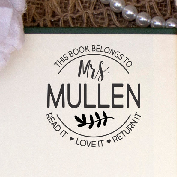 "This Book Belongs to Stamp, Custom Library Stamp, ""Mrs Mullen"""