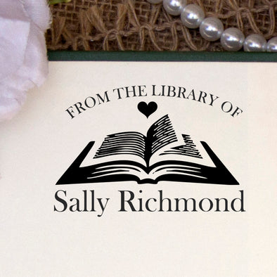 "This Book Belongs to Stamp, Custom Library Stamp, ""Sally Richmond"""