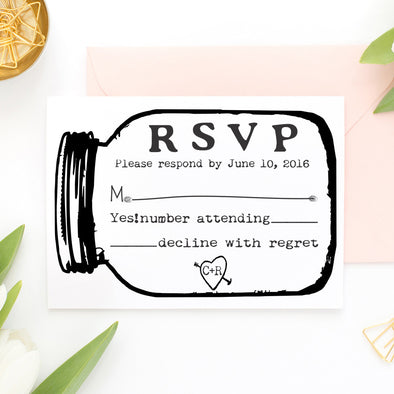 "RSVP Card Stamp ""Mason Jar"""