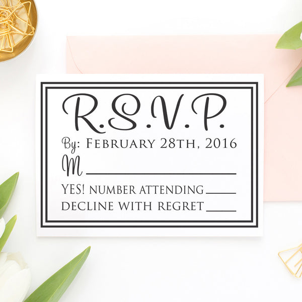 "RSVP Card Stamp ""Double Rectangle Border"""
