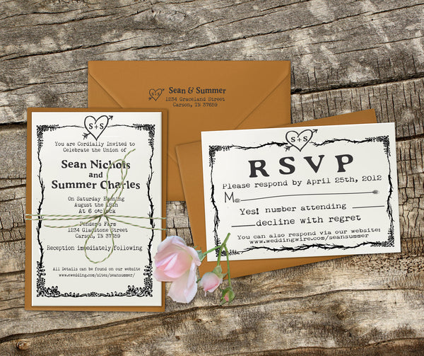 "Wedding Invitation Stamp Set ""Rustic Heart Sean & Summer"""