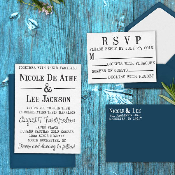 "Wedding Invitation Stamp Set ""Nicole & Lee"""