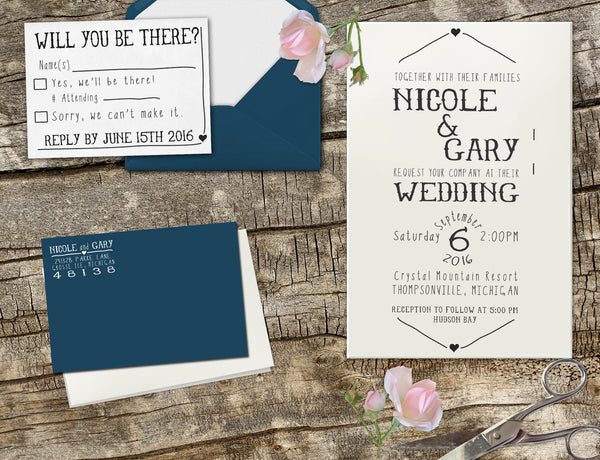 "Wedding Invitation Stamp Set ""Gary & Nicole"""