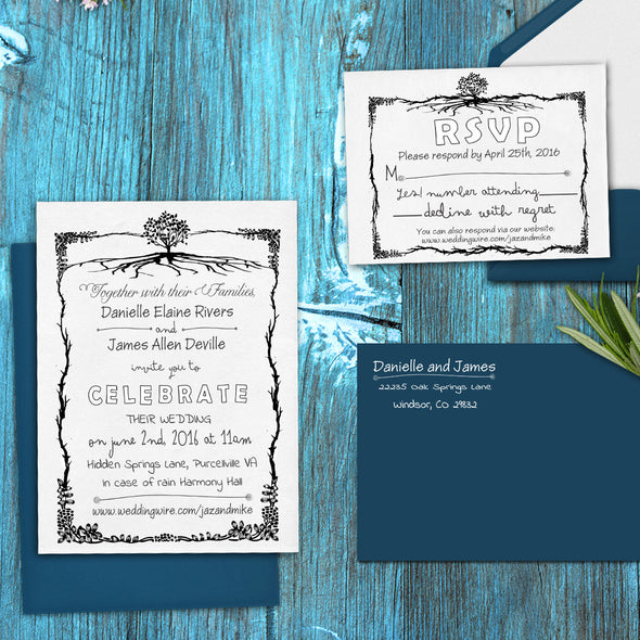 "Wedding Invitation Stamp Set ""Daniel & James Rustic Tree"""