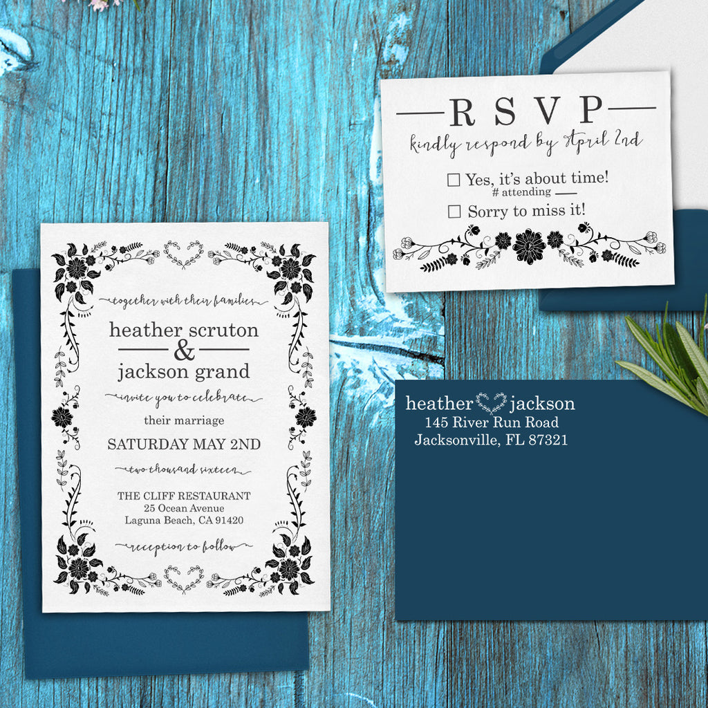 "Wedding Invitation Stamp Set ""Heather & Jackson Flowers"""