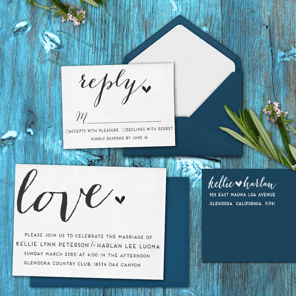 "Wedding Invitation Stamp Set ""Kellie & Harlan Calligraphy"""