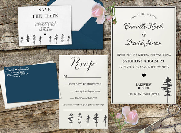 "Wedding Invitation Stamp Set ""Camille & David Trees"""