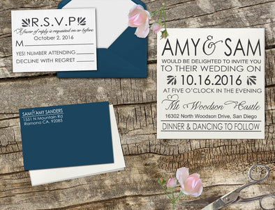 "Wedding Invitation Stamp Set ""Amy & Sam Modern"""