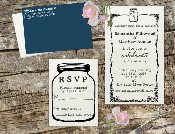 "Wedding Invitation Stamp Set ""Samantha & Matthew Mason Jar"""