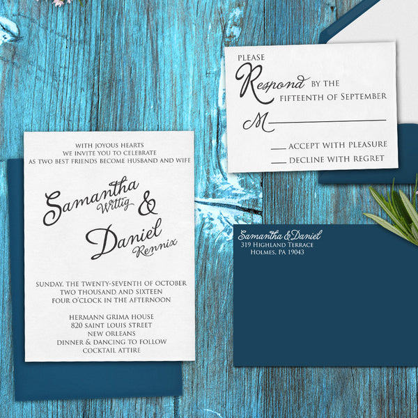 "Wedding Invitation Stamp Set ""Samantha & Daniel Script"""