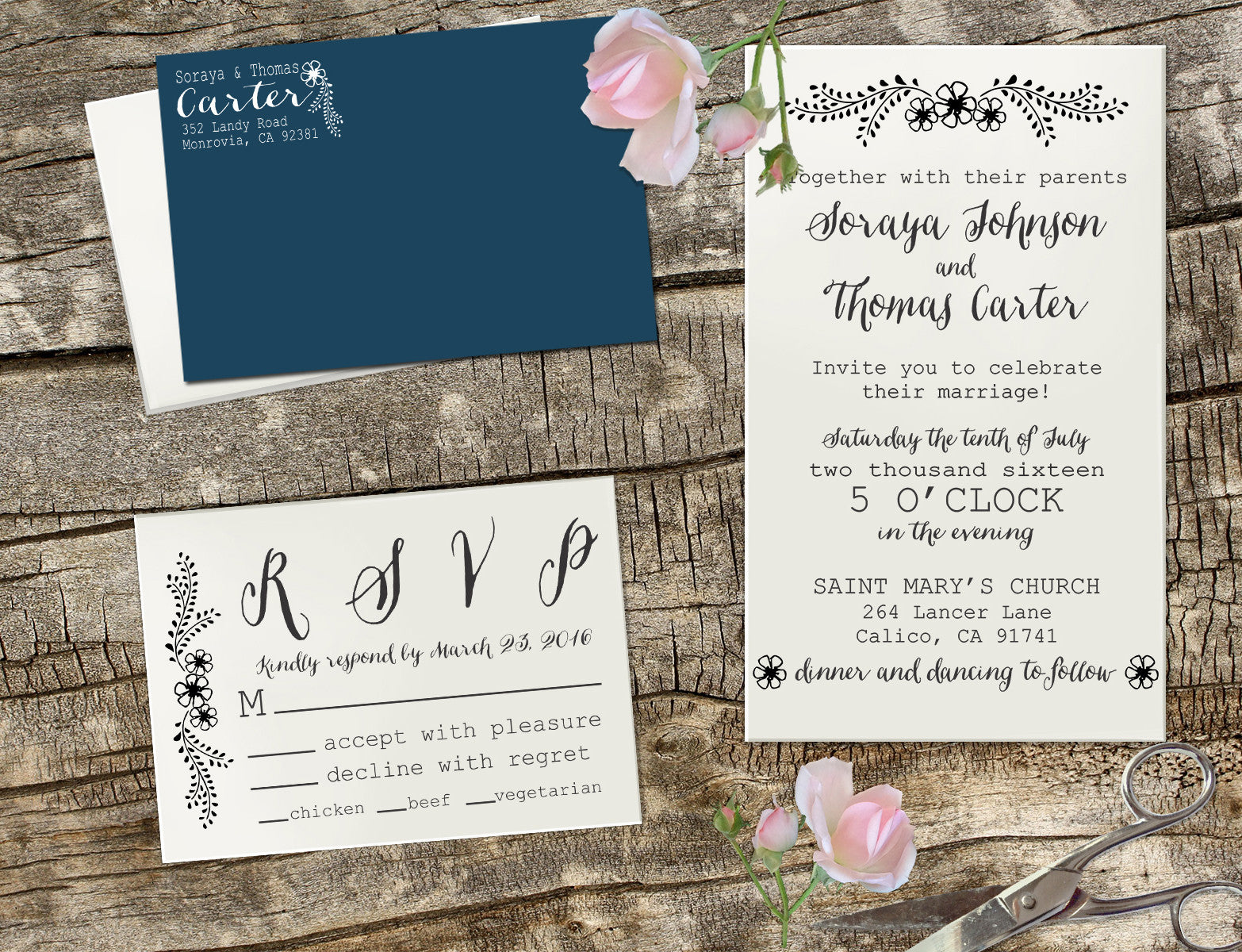 "Stamps For Wedding Invitations: Wedding Invitation Stamp Set ""Soraya & Thomas Flowers"