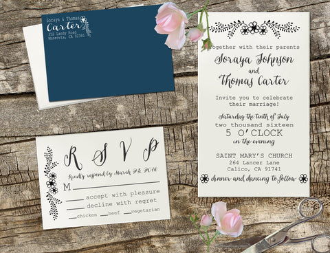 "Wedding Invitation Stamp Set ""Soraya & Thomas Flowers"""