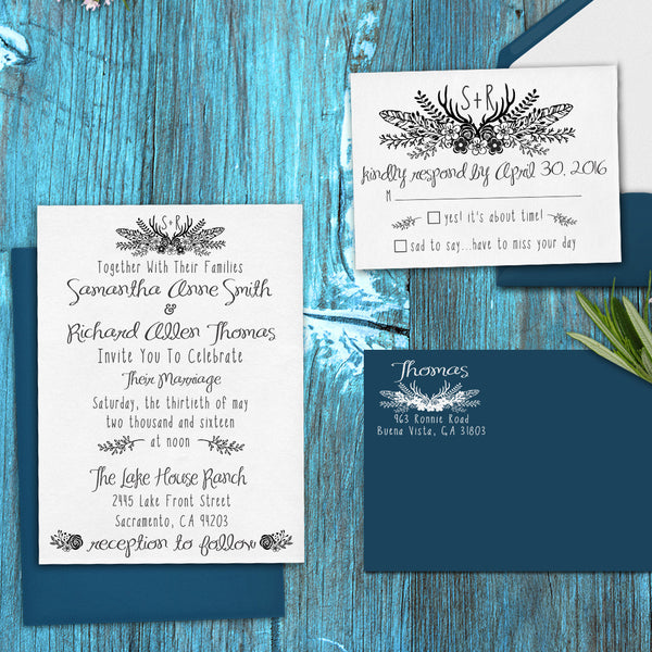 "Wedding Invitation Stamp Set ""Samantha & Richard Bohemian"""