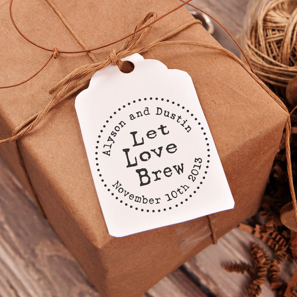 "Let Love Brew ""Alyson & Dustin"" Wedding Favor Stamp"
