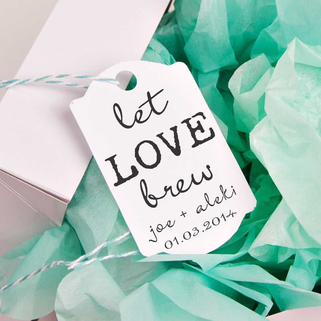 "Let Love Brew ""Joe & Aleki Wedding Favor Stamp"