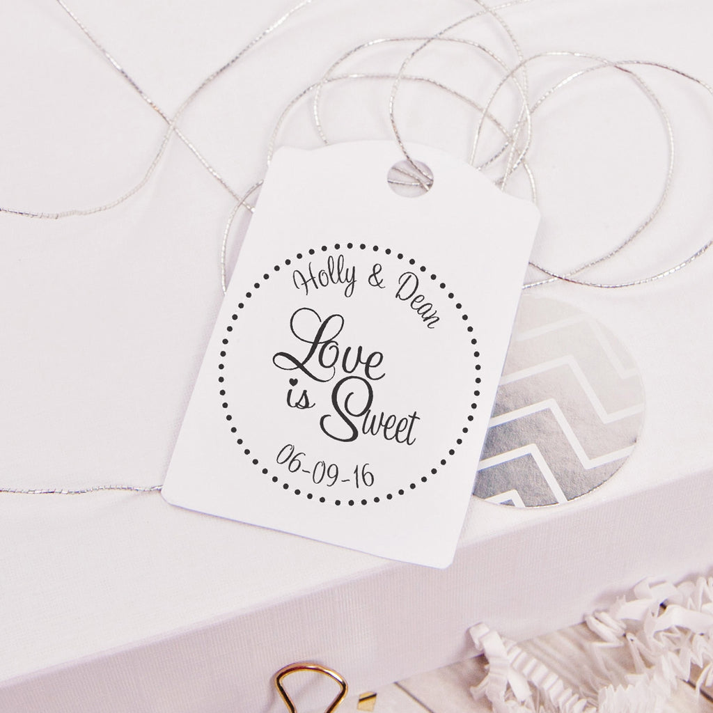 Initial & Name Strikethrough Wedding Favor Stamp
