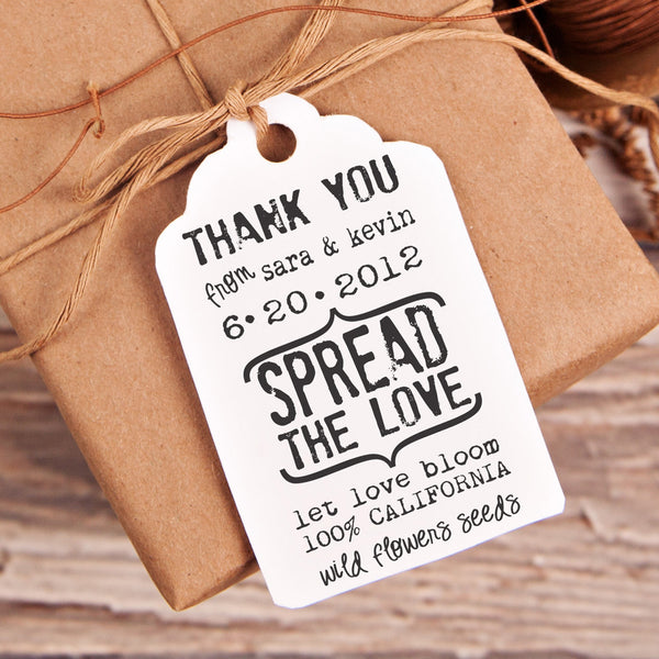 "Spread the Love ""Sara & Kevin"" Wedding Favor Stamp"