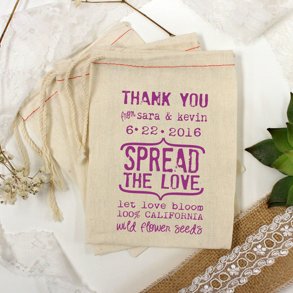 "Muslin Bag - ""Spread the Love Sara & Kevin"" - Set of 25"