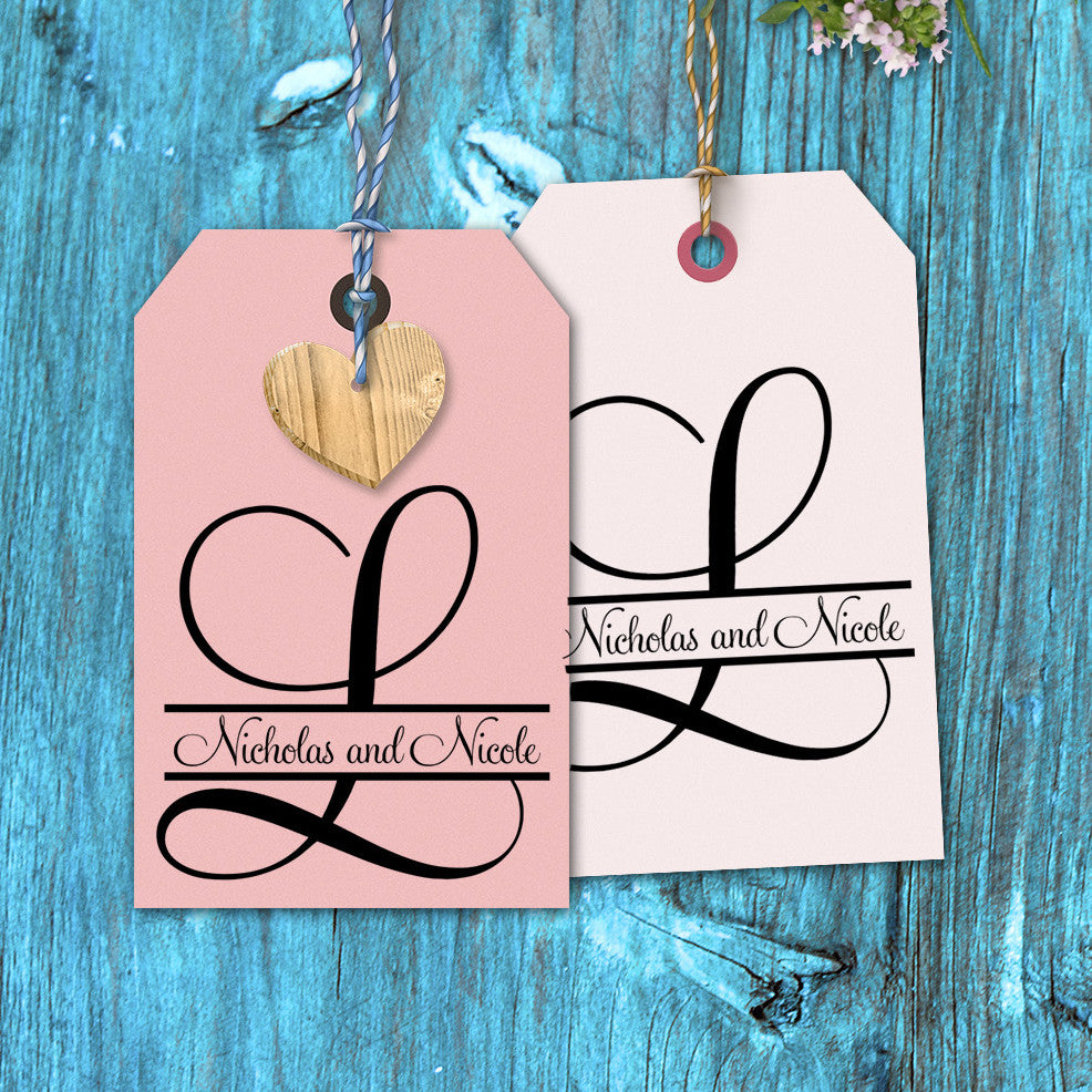 Names Though Initial Fancy Font Wedding Favor Stamp – Stamp Out