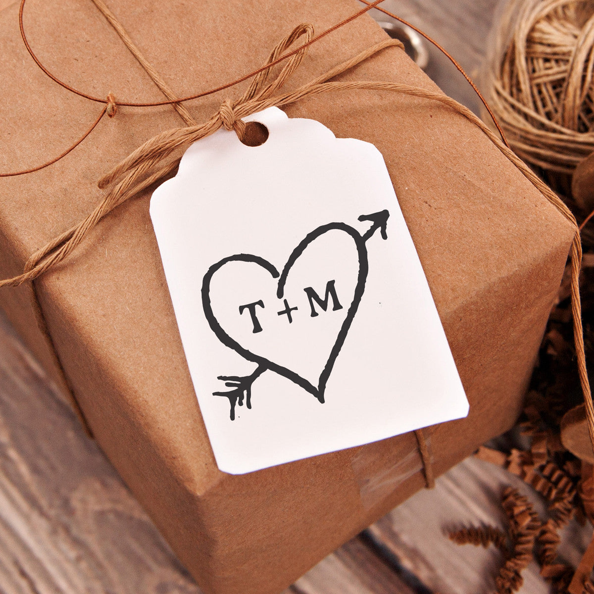 "Online Gifts For Wedding: Rustic Heart & Initials ""T+M"" Wedding Favor Stamp"