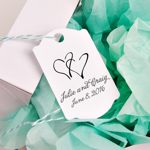 "Interlocking Hearts ""Julie & Craig"" Wedding Favor Stamp"