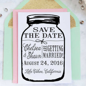 "Mason Jar Save the Date Stamp ""Chelsea & Shawn"""