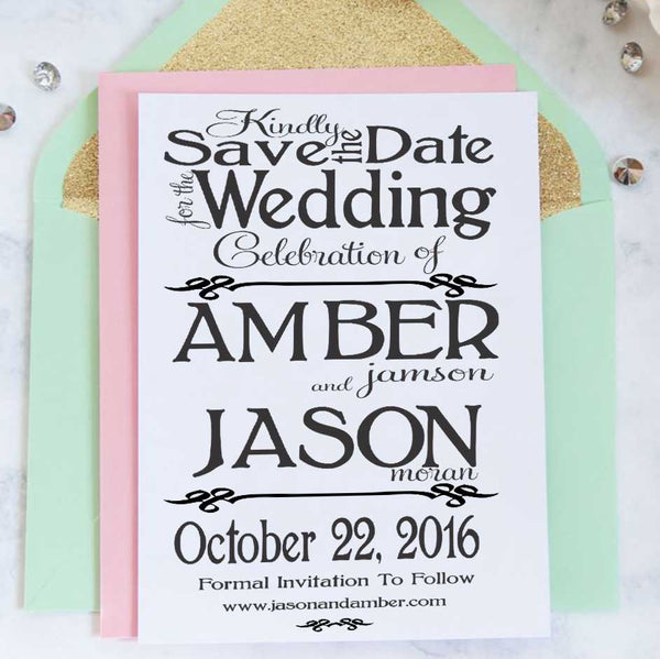 "Save the Date Stamp ""Amber & Jason"""
