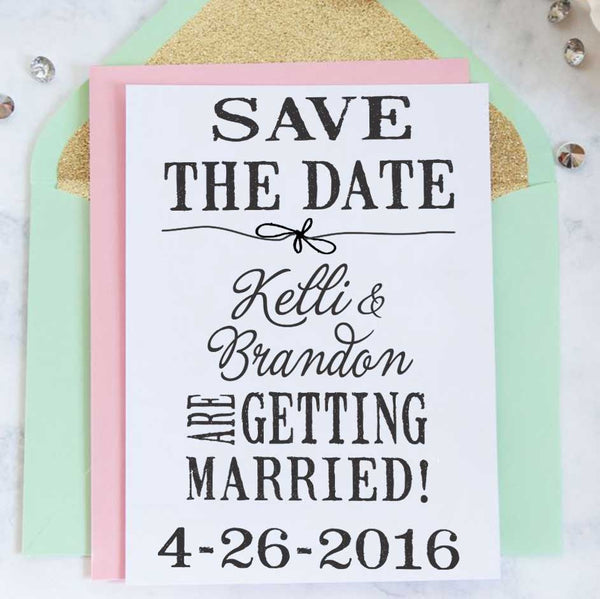 "Save the Date Stamp ""Kelli & Brandon"""