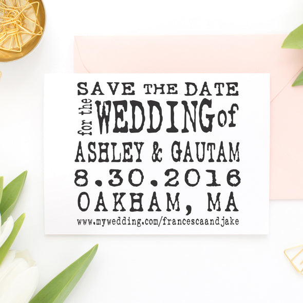 "Save the Date Stamp ""Ashley & Gautam"""