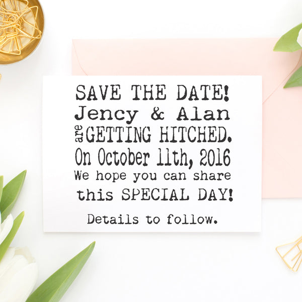 "Save the Date Stamp ""Jency & Alan"""