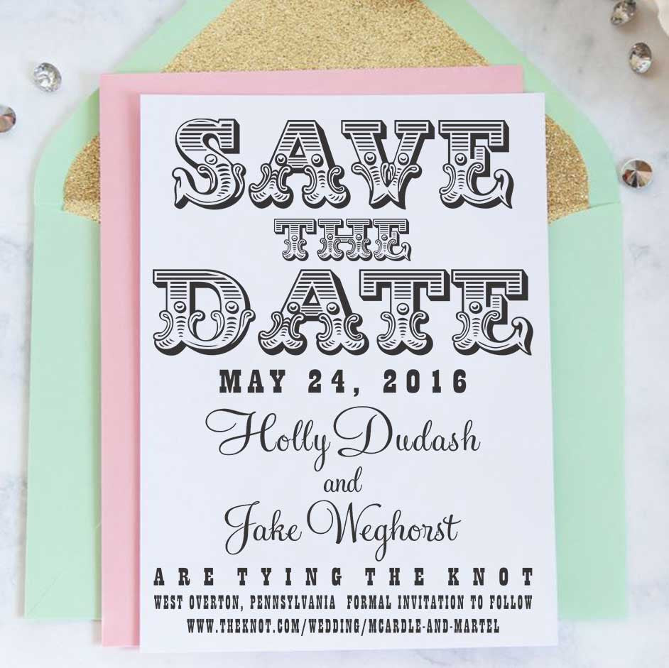 "Save the Date Stamp ""Holly & Jake"""