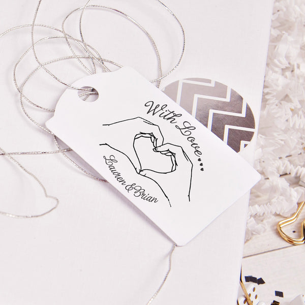 Brian & Lauren Heart Hands Wedding Favor Stamp