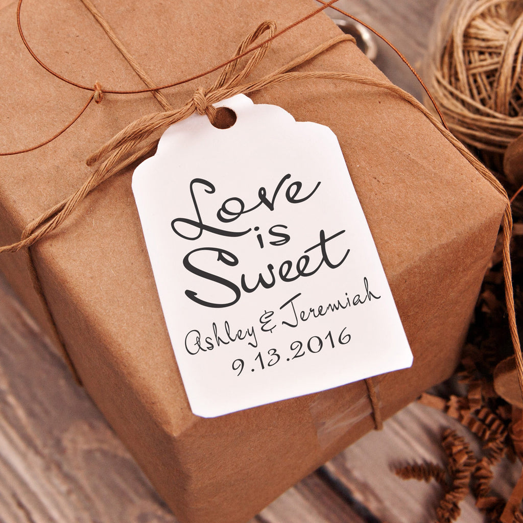 "Love is Sweet ""Ashley & Jeremy"" Wedding Favor Stamp"