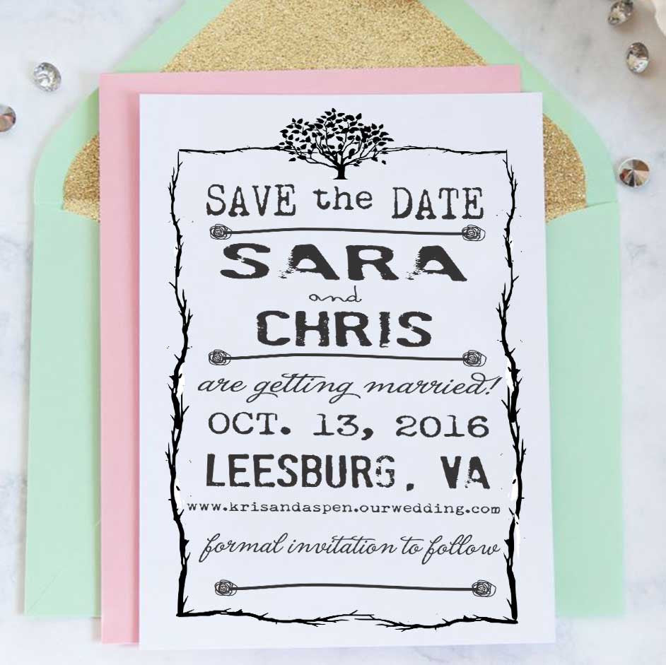 "Save the Date Stamp ""Sara & Chris"""