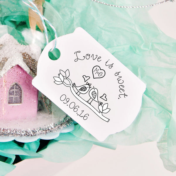 "Birds Love is Sweet ""M+G"" Wedding Favor Stamp"