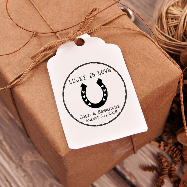 "Lucky In Love ""Horse Shoe"" Wedding Favor Stamp"