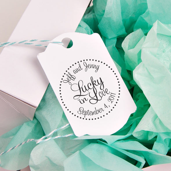 "Lucky In Love ""Jeff & Jenny"" Wedding Favor Stamp"