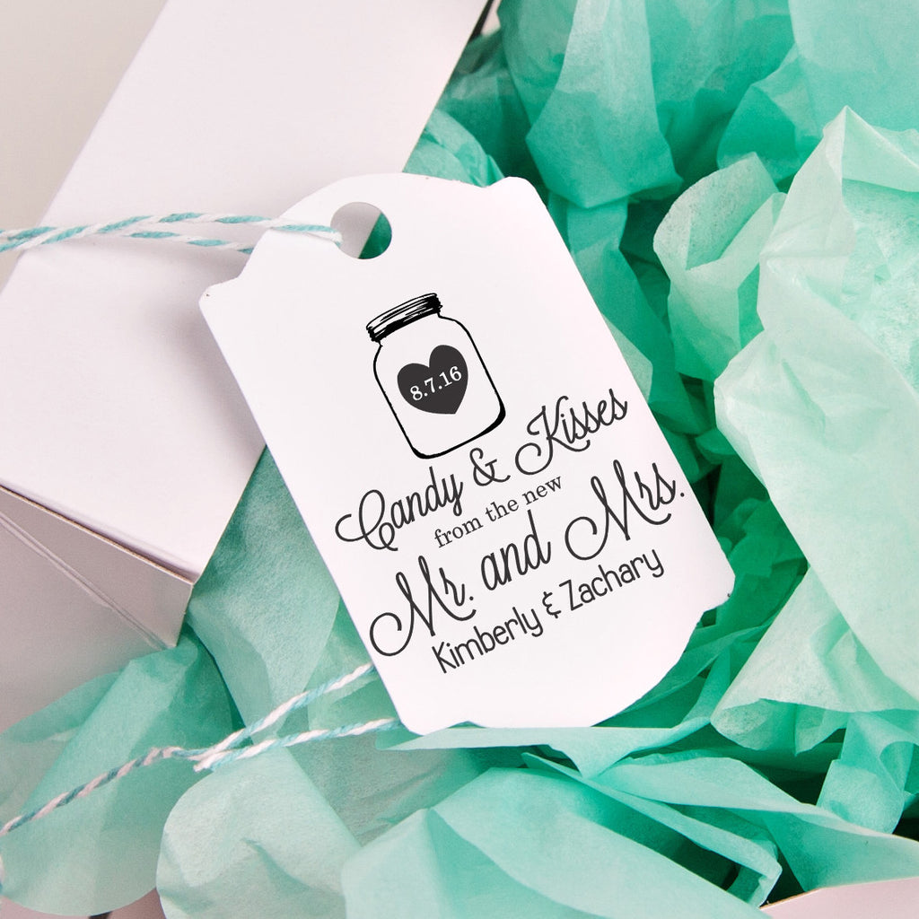 "Candy & Kisses ""Kim & Zach"" Wedding Favor Stamp"